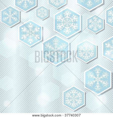 Christmas winter background with snoflakes. Vector illustration.