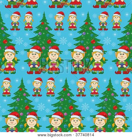 Seamless Christmas background, babies and tree