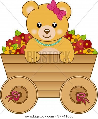Cute little bear inside cart flowers