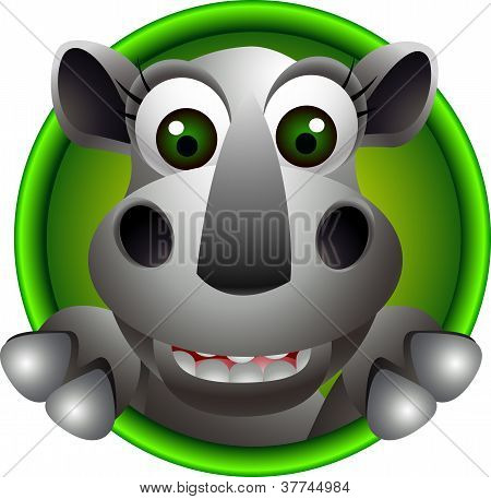 cute rhino head cartoon