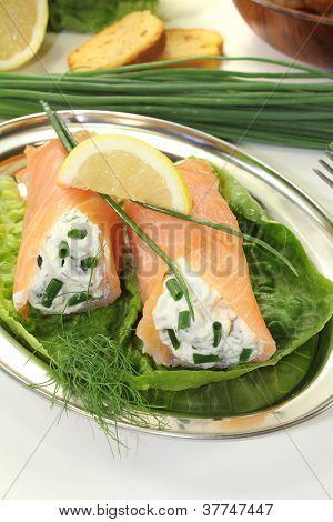 Stuffed Smoked Salmon Rolls
