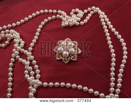 Brooch And Pearls