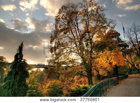 Sunset in Luxembourg in autumn