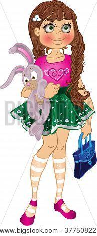 girl with yellow bunny and bag