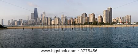 Panoramic View Of Chicago From North Ave Beach