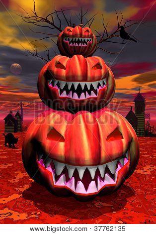 Pumpkins In Halloween Scene