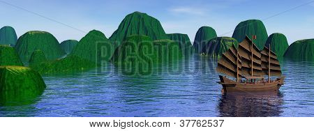 Oriental Junk Among Islands