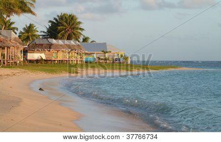Samoa - Traditional Fales Along Manase Beach