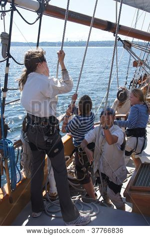 The Crew Rigs The Sails