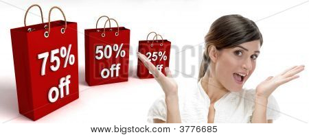 Three Dimensional Shopping Bags And Surprised Businesswoman