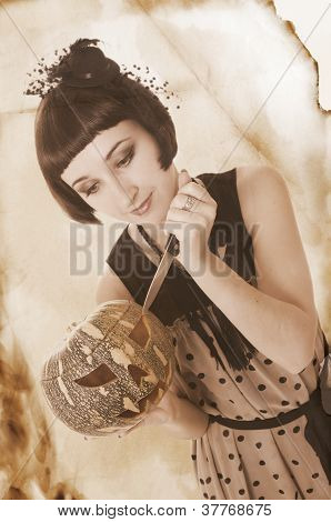 Pretty Woman With Knife Carving A Pumpkin, Retro Style