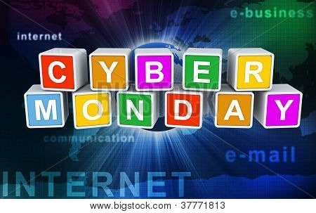 3D Modewort Text 'cyber monday'
