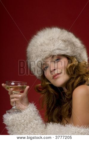 Beautiful Lady With Fur Hat