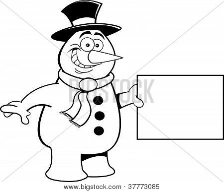 Cartoon Snowman Holding a Sign (Black and White Line Art)