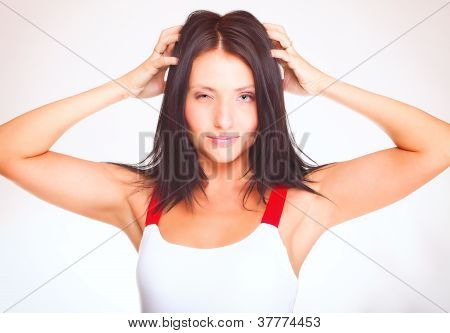 Portrait Of A Happy Young Woman Winks