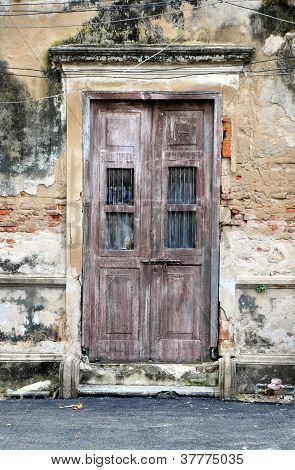 Old Door Of Brick Building