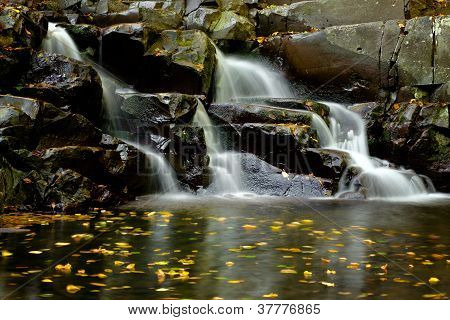 Little waterfall with colorful leaves