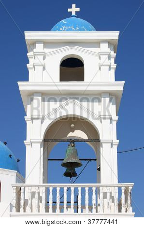 Church Bell Tower In Santorini