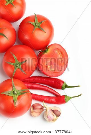 Tomatoes, Peppers And Apple