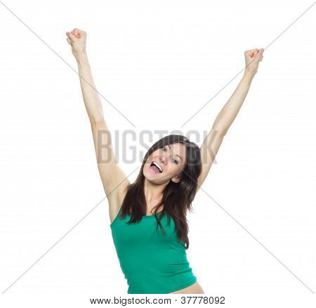 Young Pretty Woman Hands Up Raised Arms, Screaming Yelling