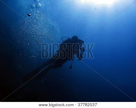 Diver and bubbles