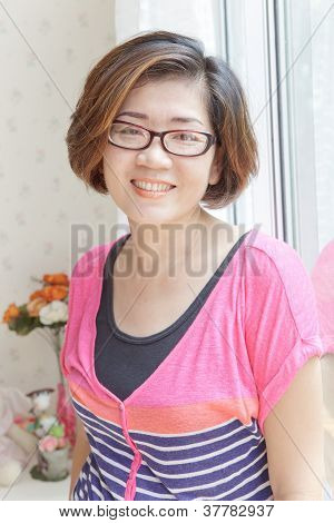 forty years old asian woman with good health