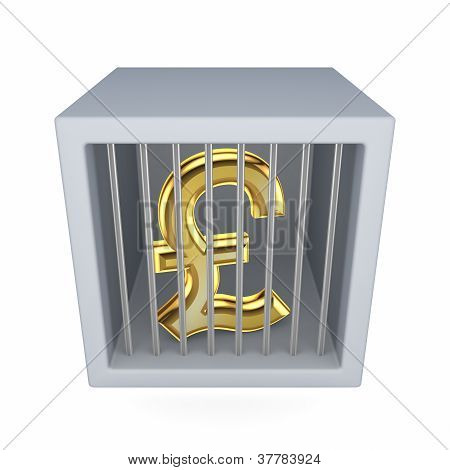 Pound sterling sign in a prison.