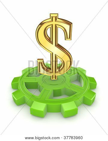 Golden dollar sign on green gear.