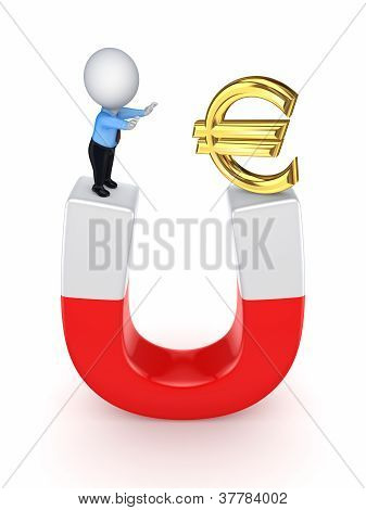 3d small person and euro sign on a horseshoe.