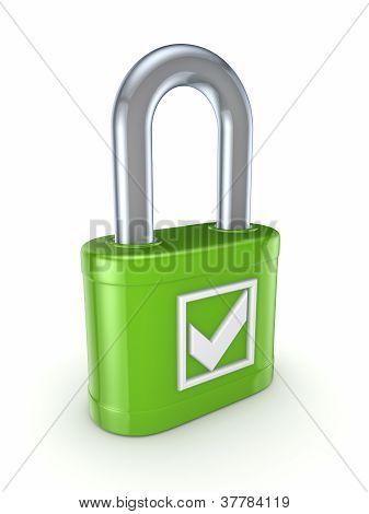 Tick mark on a green lock.