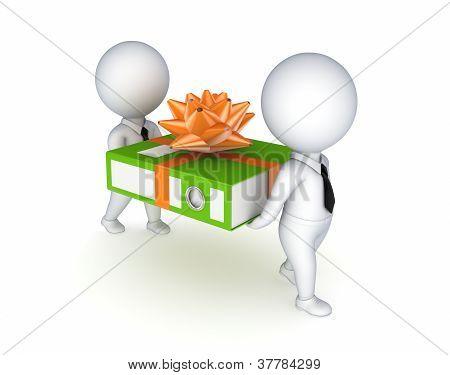 gente pequeña 3D con una carpeta de oficina verde.