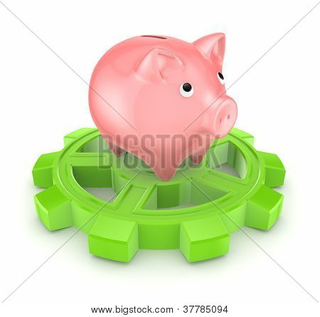 Pink piggy bank on a green gear.