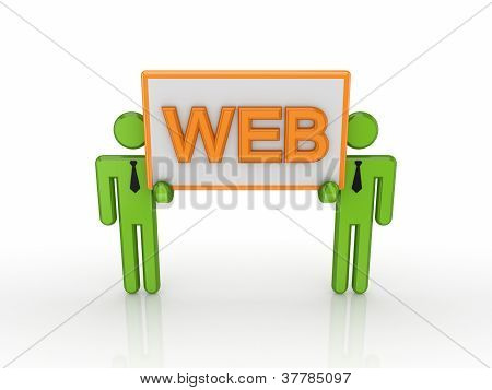 3d small people with a big bunner with a word WEB