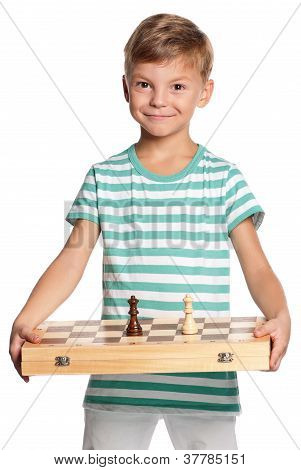 Boy with chessboard