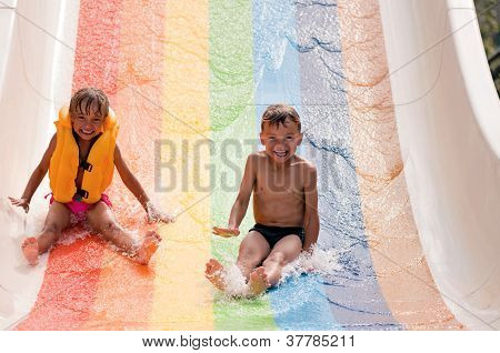 Children at aqua park