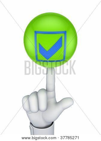 Tick Mark Symbol auf eine grüne Kugel.