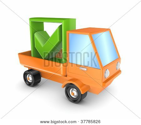 Orange truck with a green tick mark.