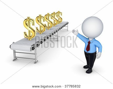 3d small person points to the conveyor with the symbols of the d