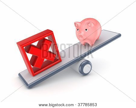 Pink piggy bank and red cross mark on a scales.
