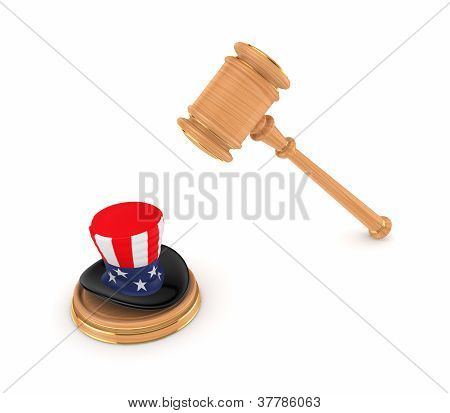 Wooden hammer and Uncle Sam's hat.