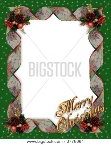 Christmas Ribbon Frame Green Gold Text