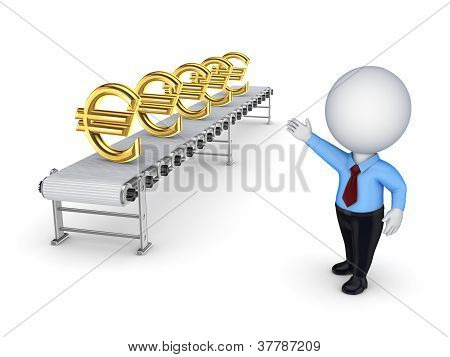 3d small person points to the conveyor with the symbols of the e