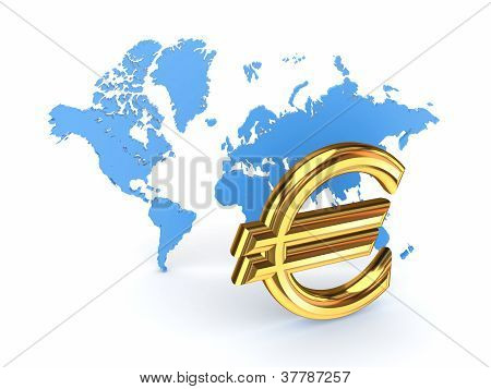 Euro sign and blue map.