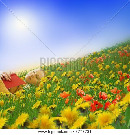 Woman Sleeping On A Meadow