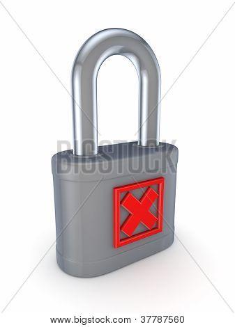Red cross mark on a grey lock.