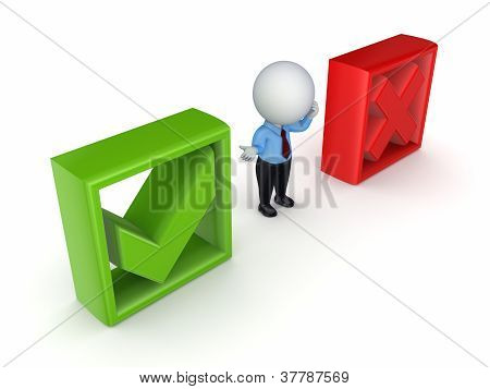 3d small person between tick and cross marks.