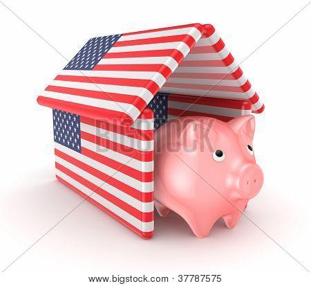 Piggy bank bajo el techo de banderas americanas.