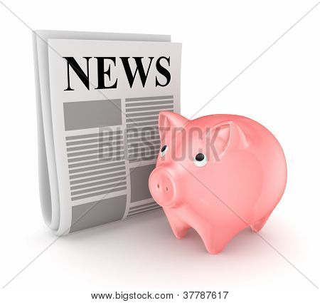 Stylized newspaper and pink piggy bank.