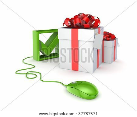 Green mouse, tick mark and gift boxes.