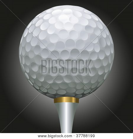 Golf Ball On Gold Tee